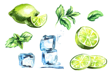 Ice cubes, lime and mint leaves isolated on white background set. Watercolor hand drawing illustration