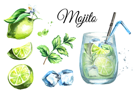 Mojito set with Glass, ice cubes, lime and mint. Watercolor hand drawn illustration