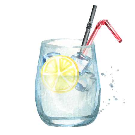 Glass of coctail with lemon and ice cubes. Watercolor hand drawing illustration