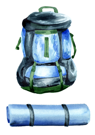 Big hiking backpack and camping Mat. Isolated on white background. Watercolor hand drawn illustration Stock Photo