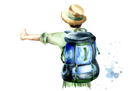 Girl hitchhiker in a green blouse and a straw hat with a backpack on her shoulders standing with her back to the viewer. Isolated on white background. Watercolor hand drawn illustration