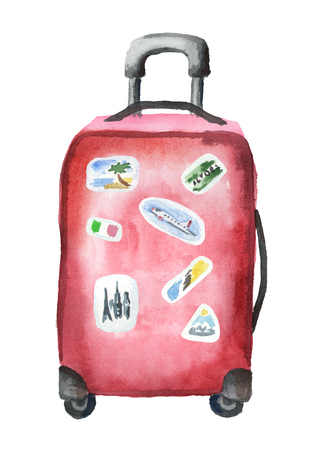 The big red suitcase on wheels with extendable handle, with stickers. Isolated on white background. Watercolor hand drawing illustration