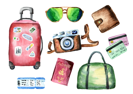 Tourist set with suitcase, bag, passport, ticket, wallet, credit cards, camera and sunglasses. Isolated on white background. Watercolor hand drawing illustration Foto de archivo
