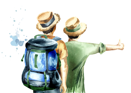 Young couple of hikers, hitchhiker, isolated on white background. Watercolor hand drawn illustration