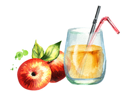 Glass of Apple juice. Watercolor Hand drawn illustration
