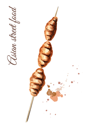 Asian street food. Fried insects wood worm, isolated on white background. Watercolor hand drawn illustration Stock Photo
