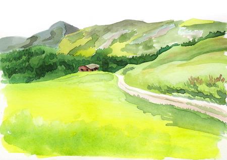 Alpine scenery. Watercolor illustration
