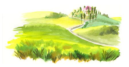 Italian landscape. Watercolor illustration Banque d'images