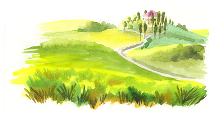 Italian landscape. Watercolor illustration Stock Photo