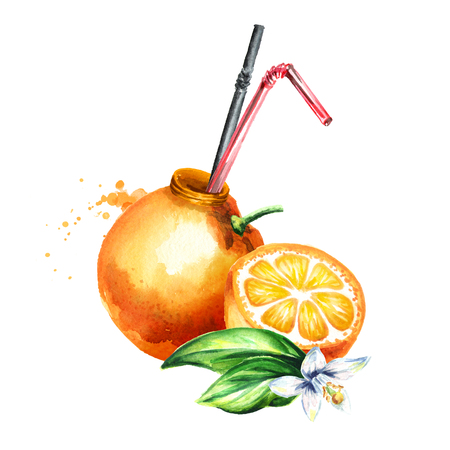 Natural orange juice. Watercolor hand drawn illustration, isolated on white background