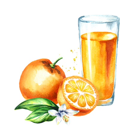 Glass of orange juice. Watercolor hand drawn illustration, isolated on white background Фото со стока