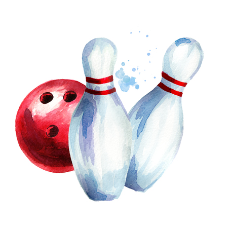 Bowling ball and pins. Watercolor hand drawn illustration Isolated on white background Stock Photo