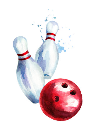 Bowling ball and pins. Watercolor hand drawn illustration. Isolated on white background