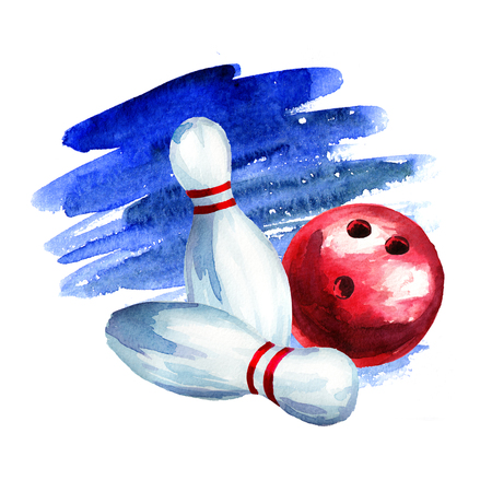 Bowling ball and pins. Watercolor hand drawing illustration