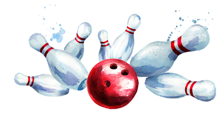 Bowling ball crashing into the pins. Watercolor hand drawn illustration  isolated on white background Stock Photo