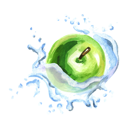 Fresh green apple in splash isolated on white background. Watercolor hand drawing illustration Imagens