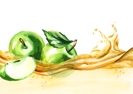 Green apples on a wave of juice, watercolor hand drawn illustration Stock Photo
