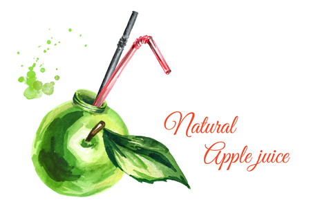 Natural Apple juice. Watercolor Hand drawn illustration Stock Photo