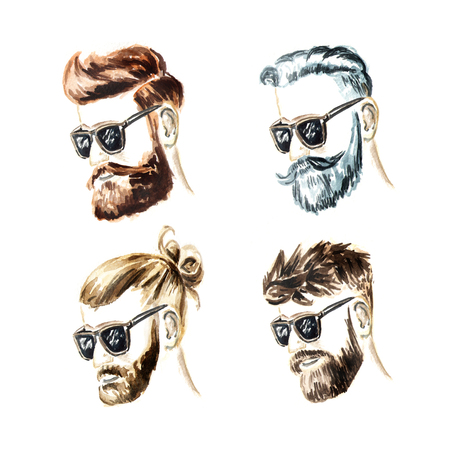 Bearded men set. Hand drawn sketch fashion illustration isolated on white background