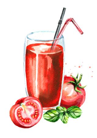 Glas Tomatensaft und Basilikum. Gezeichnete Illustration des Aquarells Hand, lokalisiert auf weißem Hintergrund