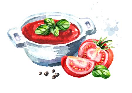 Natural tomato soup. Watercolor hand drawn illustration, isolated on white background Foto de archivo