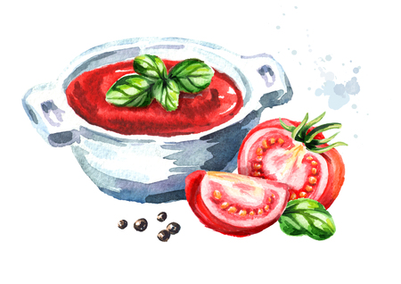 Natural tomato soup. Watercolor hand drawn illustration, isolated on white background Stock Photo