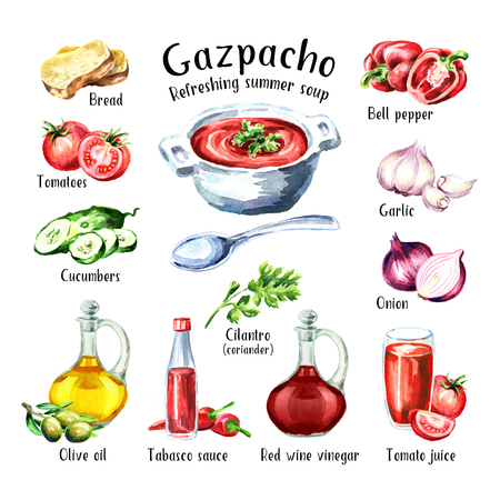 Gazpacho. Cold Refreshing summer soup. Ingredients. Watercolor hand drawn illustration, isolated on white background