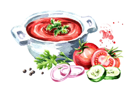 Gazpacho tomato refreshing soup. Watercolor hand drawn illustration isolated on white background Stock Photo