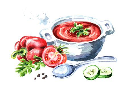Gazpacho tomato refreshing soup. Watercolor hand drawn illustration, isolated on white background