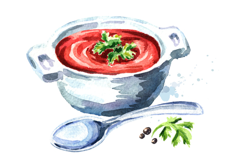 Gazpacho tomato soup. Watercolor hand drawn illustration, isolated on white background Stock Photo