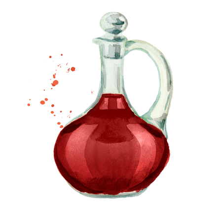 Jar with red wine vinegar. Watercolor hand drawn illustration, isolated on white background Stock Photo
