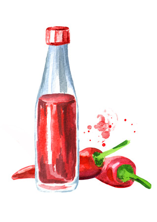 Tabasco sauce bottle and red hot Chili pepper. Watercolor hand drawn illustration, isolated on white background