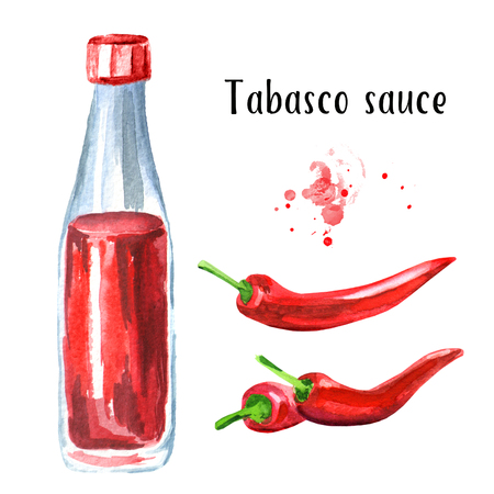 Tabasco sauce bottle and red hot Chili pepper set. Watercolor hand drawn illustration, isolated on white background Stock Photo