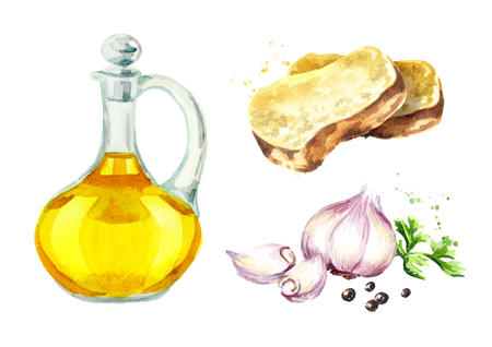 Garlic bread set. Watercolor hand drawn illustration, isolated on white background
