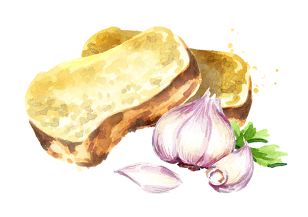 Garlic bread. Watercolor hand drawn illustration isolated on white background Banque d'images