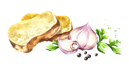 Garlic bread. Watercolor hand drawn illustration, isolated on white background Stock Photo