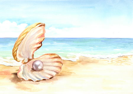 Pearl in the shell on the summer. Hand drawn horizontal watercolor illustration Stock Photo