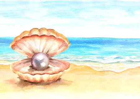 Pearl in the shell on the Summer tropical beach with golden sand. Hand drawn horizontal watercolor illustration Stock Photo