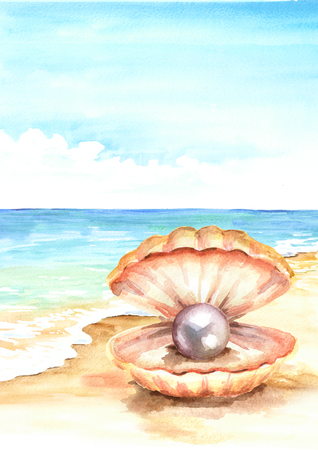 Pearl in the shell on the Summer tropical beach with golden sand. Hand drawn vertical watercolor illustration Stock Photo