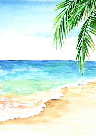 Summer tropical beach with golden sand, waves and palm leaves. Hand drawn watercolor illustration