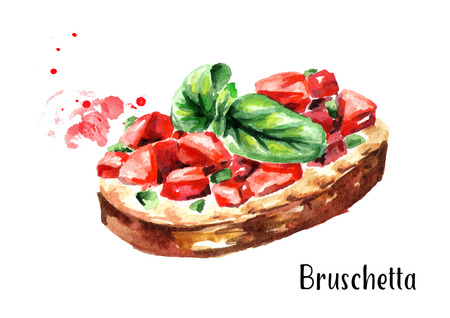 Tomato bruschetta. Watercolor hand drawn illustration, isolated on white background
