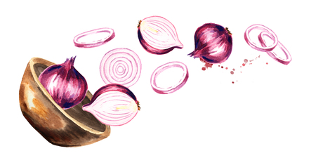 Bowl with onion. Hand drawn horizontal watercolor illustration, isolated on white background Stock Photo