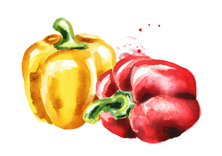 Red and yellow Bell peppers. Watercolor hand drawn illustration, isolated on white background 스톡 콘텐츠