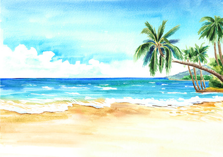 Seascape. Summer tropical beach with golden sand and palmes. Hand drawn horizontal watercolor illustration