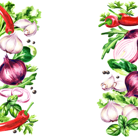 Herbs and spices background. Watercolor hand drawing illustration