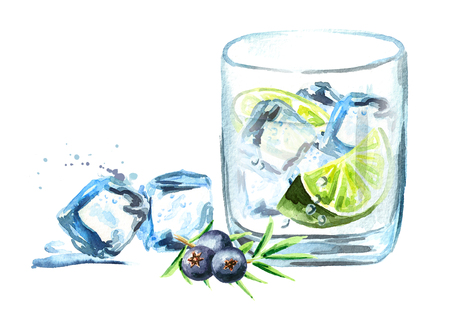 Gin tonik with ice cubes, lime slice and juniper berries. Watercolor hand drawn illustration  isolated on white background