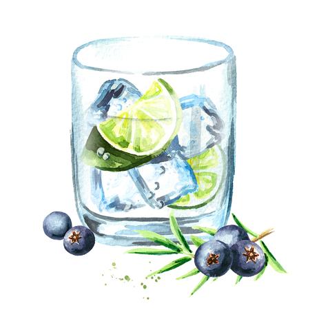 Gin tonik con cubitos de hielo, rodaja de lima y bayas de enebro. Ilustración de dibujado a mano acuarela, aislado sobre fondo blanco