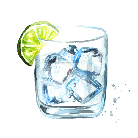 Glass of Gin tonic with ice cubes and lime slice. Watercolor hand drawn illustration, isolated on white background