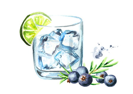 Glass of Gin tonic with ice cubes, juniper and lime. Watercolor hand drawn illustration, isolated on white background Banco de Imagens