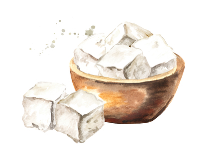 Cubes of greek feta cheese in the bowl. Watercolor hand drawn illustration, isolated on white background